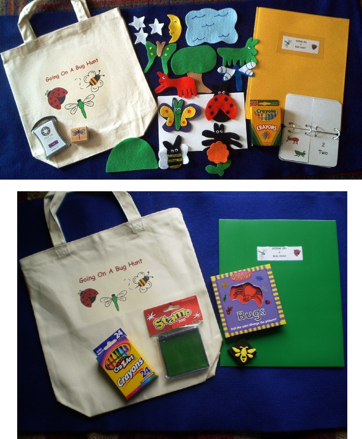 Going on a Bug Hunt Literacy Bag - This site has Literacy Bags for sale