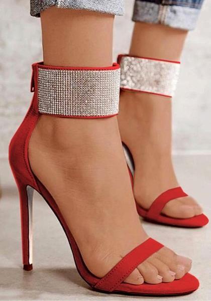 42ec93045eba Red Round Toe Stiletto Rhinestone Fashion High-Heeled Sandals ...