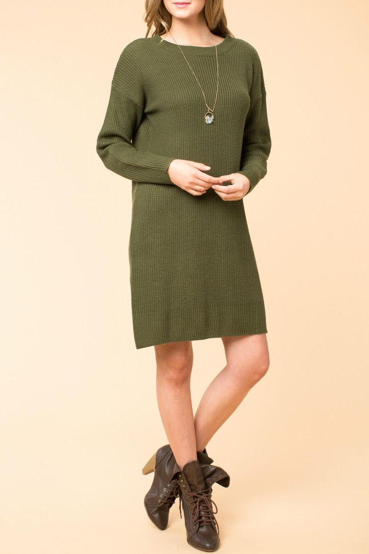 Hunter green sweater dress, features an open back withlong sleeves.   Hunter Green Dress by HYFVE. Clothing - Dresses Cleveland, Ohio