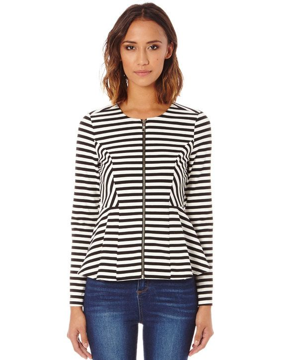 Stripe Zip Front Ponte Jacket