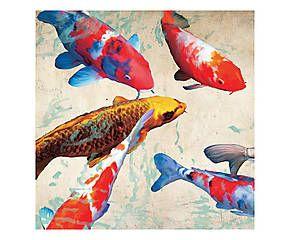 Stampa fine art su canvas con telaio in legno Koi 1 - 70x70x4 cm