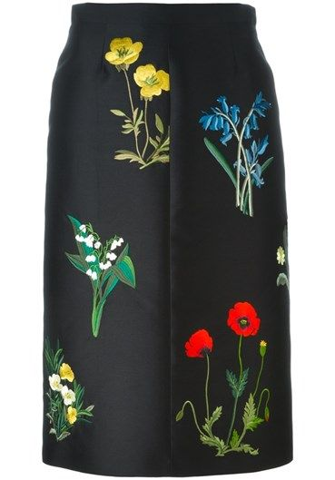 Black cotton-silk blend #floral embroidered #skirt from #StellaMcCartney featuring a high waist, an a-line shape and a knee length. @stellamccartney http://bit.ly/1luOafU