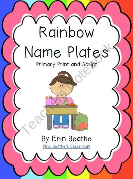 Name Plates (Primary Print & Script) in a Rainbow Theme from Mrs. Beatties Classroom on TeachersNotebook.com (4 pages)  - Name Plates (Primary Print & Script) in a Rainbow Theme