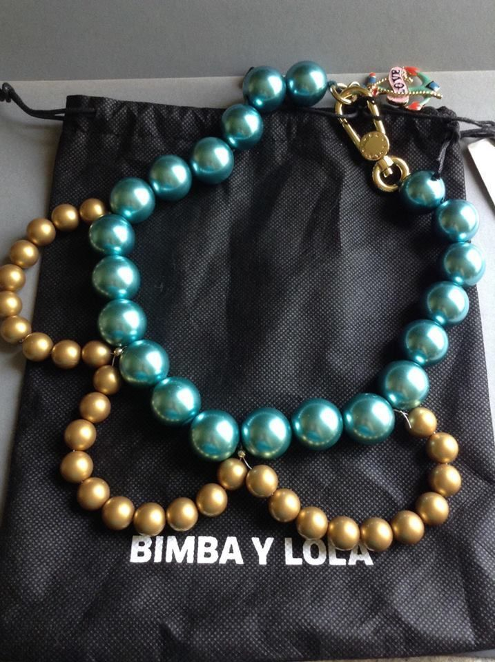 Bimba and Lola NWT & Dust Bag, large colored pearl necklace turquoise/gold Spain #BimbaLola #FauxPearl