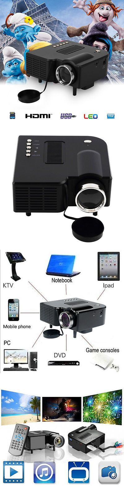 Home Theater Projectors: Mini Portable Hd Led Projector Home Cinema Theater Pc Laptop Vga Usb Sd Av Hdmiand -> BUY IT NOW ONLY: $34.85 on eBay!