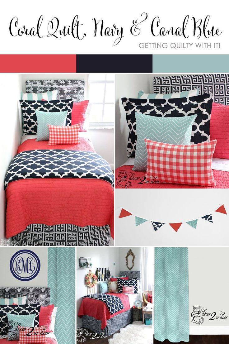 Coral Quilt, Navy & Canal Blue Dorm & Teen Designer Bedding Set
