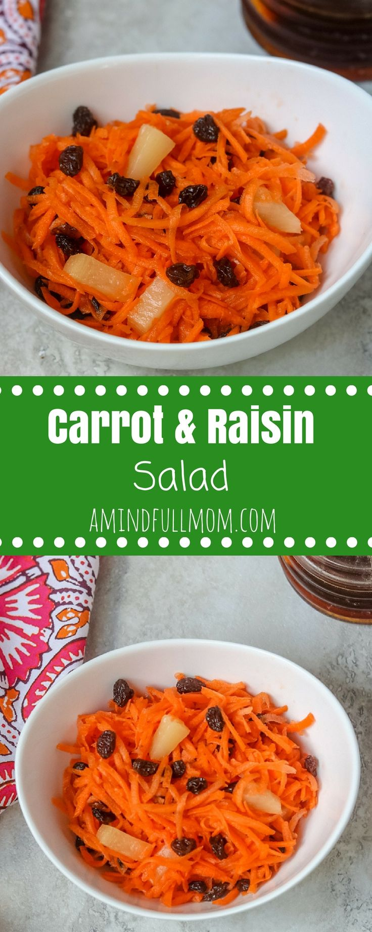 Carrot and Raisin Salad with Pineapple and NO MAYO: Shredded carrots, raisins and pineapple are tossed together with a sweet and tangy dressing to make an easy carrot salad. Vegan option. Gluten-Free. #saladrecipe #glutenfreerecipe #vegansalad #vegetarian  via @amindfullmom