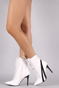 Wild Diva Lounge Contrast Suede Trim Lace Up Stiletto Sneaker Booties