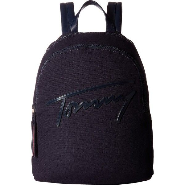 Tommy Hilfiger Tommy Script Backpack Canvas (Tommy Navy) Backpack Bags (72 CAD) ❤ liked on Polyvore featuring bags, backpacks, navy, top handle bags, blue bag, canvas backpack, navy backpack and canvas daypack