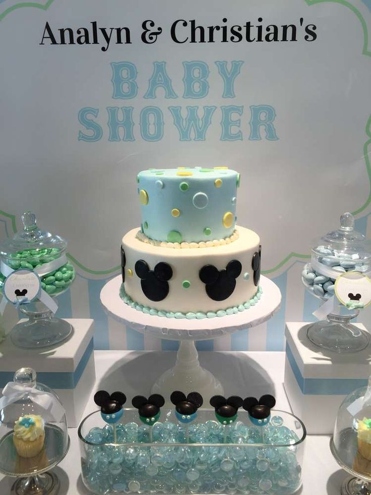 Baby Mickey baby shower party cake! See more party planning ideas at CatchMyParty.com!
