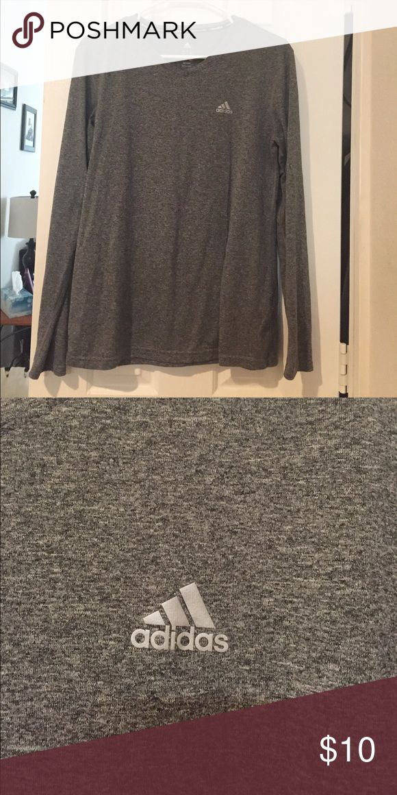 Adidas dry fit shirt. Size M Heather gray. Size M. Long sleeve adidas dry fit workout shirt. Reflective logo on chest. adidas Tops Tees - Long Sleeve