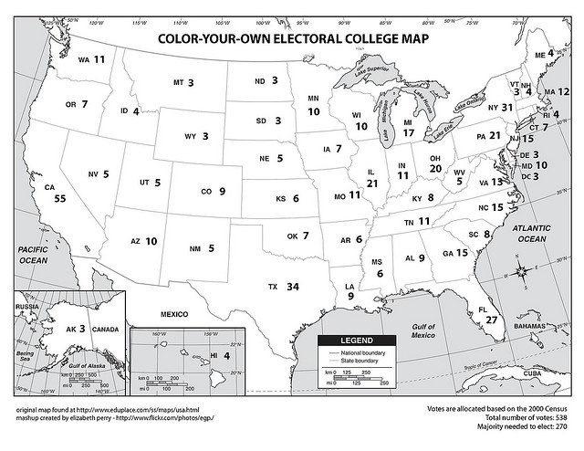 Color-Your-Own Electoral College Map by egp, via Flickr
