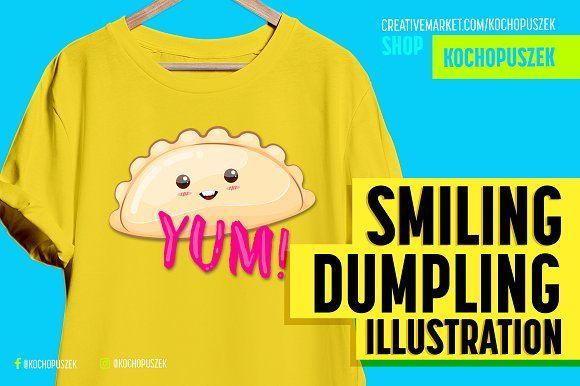 Happy Dumpling Illustration by Kochopuszek on @creativemarket