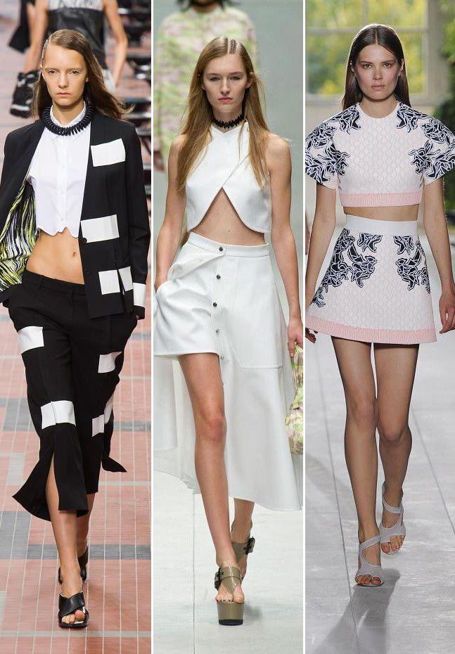 el ombligo al aire sigue siendo  tendencia para P/V 2014 #tendencias #moda #primavera_verano_2014 Kenzo, Carven, Balenciaga