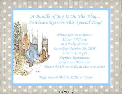 Beatrix Potter Peter Rabbit Shower Invitations