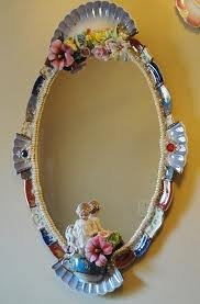 Mirror With Broken China Frame! Beautiful!