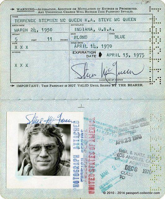 Steve McQueen Passport