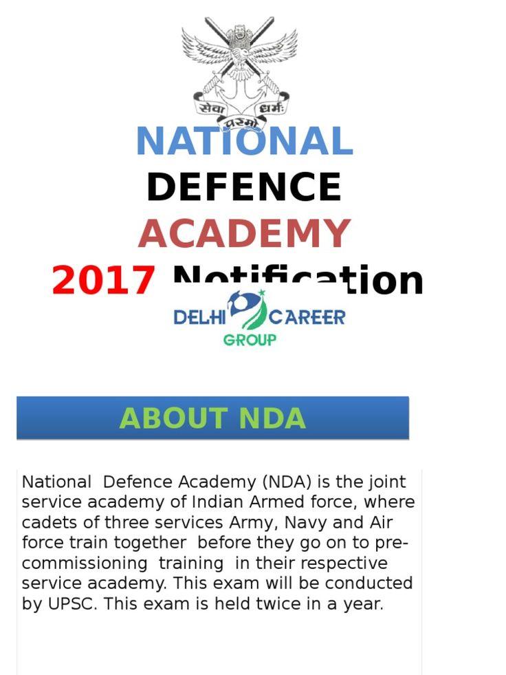 NDA Exam 2017 Notification