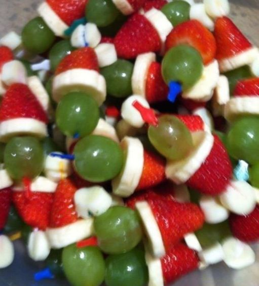 Santa hats - grape, strawberry & banana!