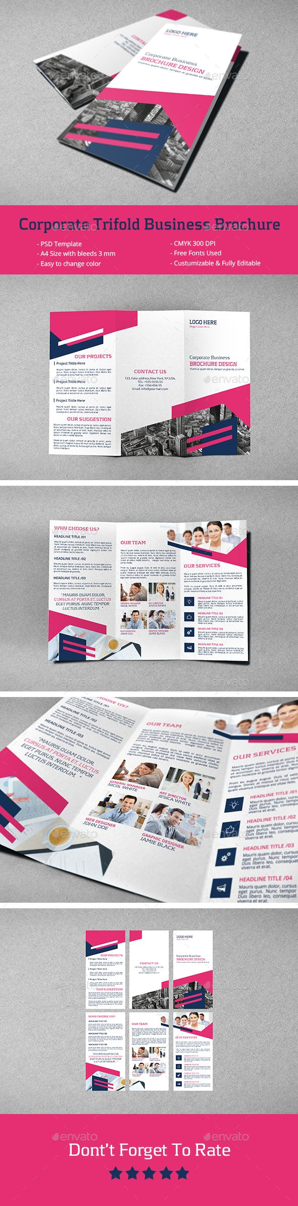 Corporate Trifold Business Brochure Template PSD #design Download: http://graphicriver.net/item/corporate-trifold-business-brochure/14334147?ref=ksioks
