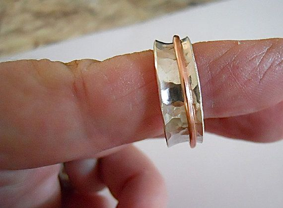 Sterling Spinner Ring, Silver and Copper, Worry Ring, Hammered Silver, Gift for Her/Him, Fidget ring, $43.00
