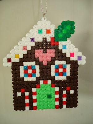 Kids Craft - Perler Hama Fuse beads - Christmas Gingerbread House