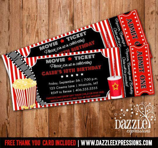 Movie Ticket Birthday Invitation Thank You Card Included Bday Ideas Movie Invitation