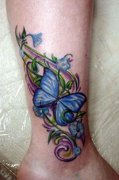 Anthony Plaza - Butterfly with Flowers & Vines