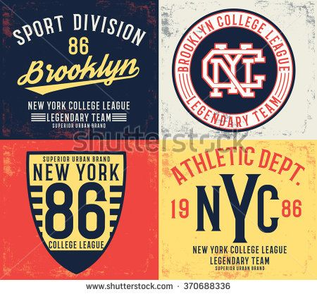 College typography set , vector illustrations , t-shirt graphic