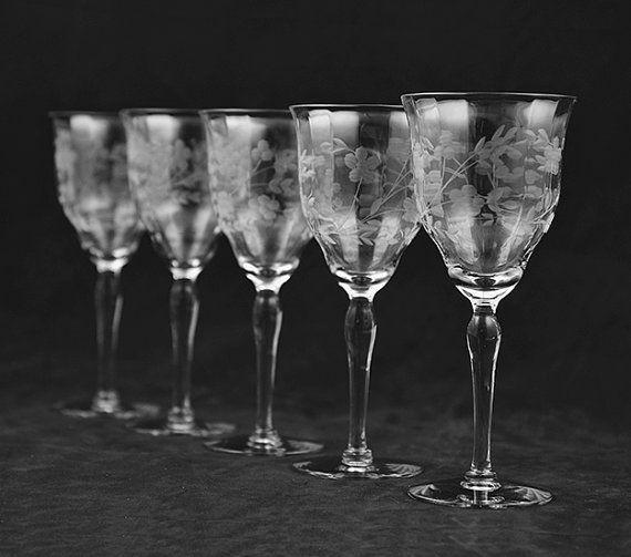 Set Of Five Vintage Crystal Stemware Water Or Wine Goblets