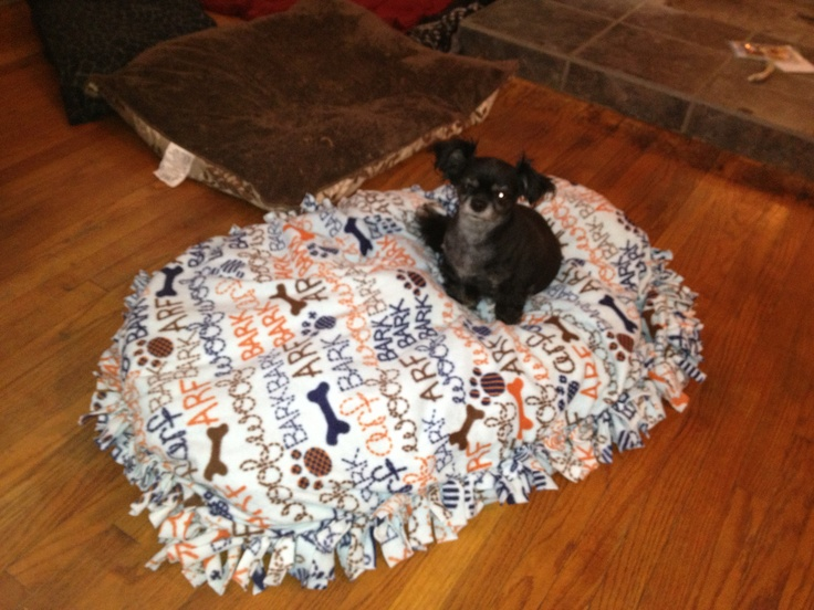 No sew blanket stuffed with poly foam. Instant dog bed