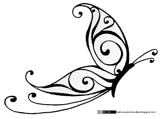 Swirly Tattoo Designs Butterfly