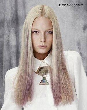 A long blonde straight coloured multi-tonal womens hairstyle by Z.One Concept