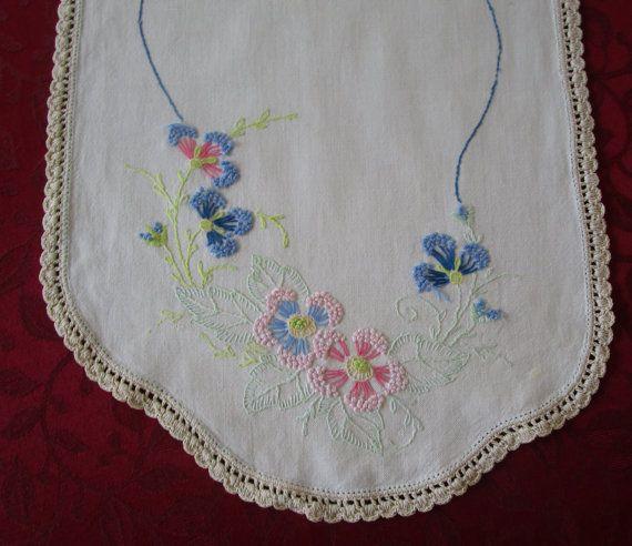 Camino de mesa vintage de algodón blanco por VintageLinenGallery