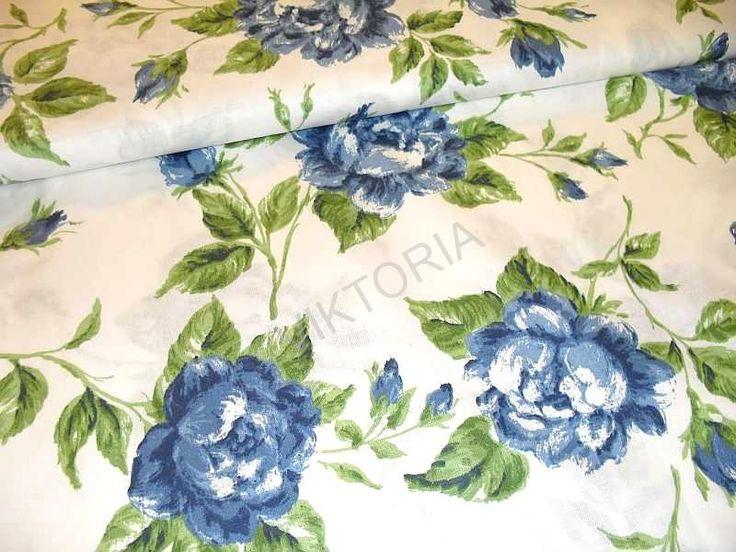 LÁTKY - BAVLNA | BAVLNA - KVĚTINOVÉ VZORY | Bavlněná látka - růže modré velké | PRODEJ LÁTEK A GALANTERIE KREJČOVSTVÍ A ÚPRAVY ODĚVŮ
