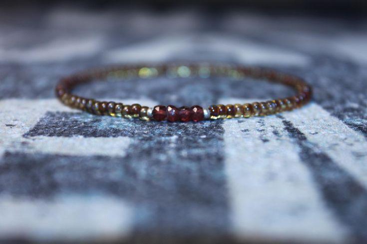 Garnet Gift For Men - Bead Bracelet with Garnet - Men's Bead Bracelets Gem