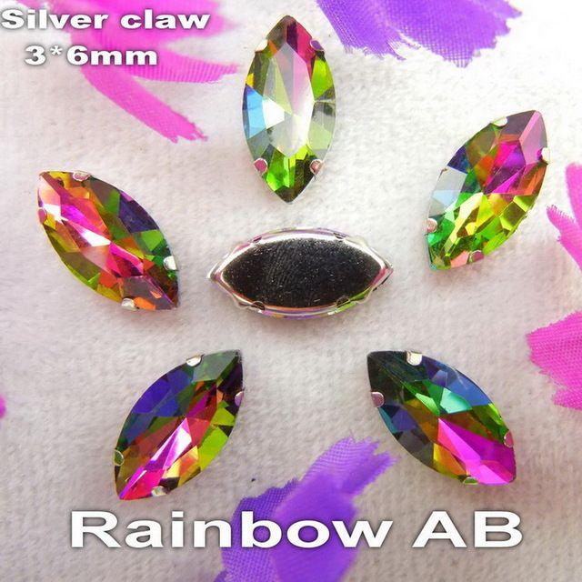 AB цвета 3*6 мм серебряный коготь настройки 50 шт./пакет пришить Navett форма стекла Хрустальные бусины горный хрусталь свадьбы платье аксессуары отделкой купить на AliExpress