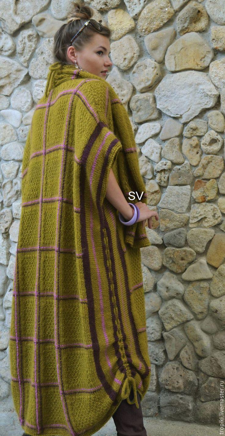 Купить Пальто-пончо вязаное горчичное - оливковый, горчичный цвет, пальто женское, пальто-пончо
