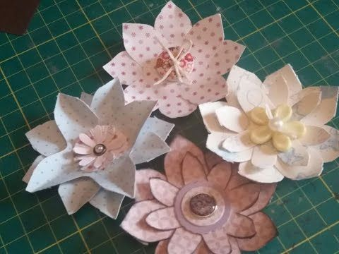 Flowers made with envelope punchboard scraps - YouTube