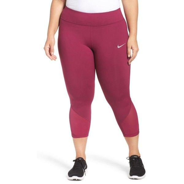 Plus Size Women's Nike Power Epic Crop Run Tights ($85) ❤ liked on Polyvore featuring plus size women's fashion, plus size clothing, plus size activewear, plus size activewear pants, plus size, true berry, nike, nike activewear, plus size sportswear and nike sportswear