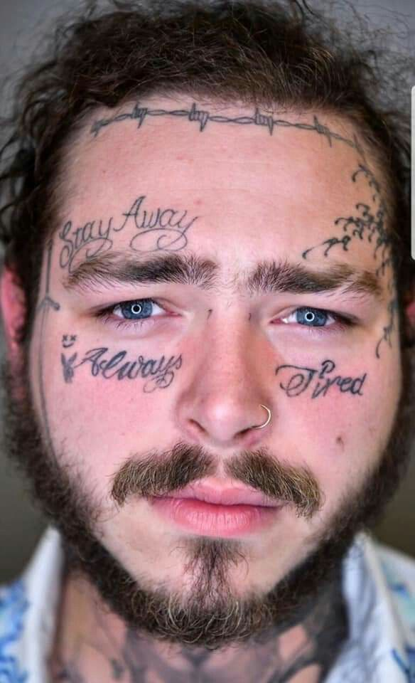 Tattoos Celebrity Mask Card Face and Fancy Dress Mask Post Malone