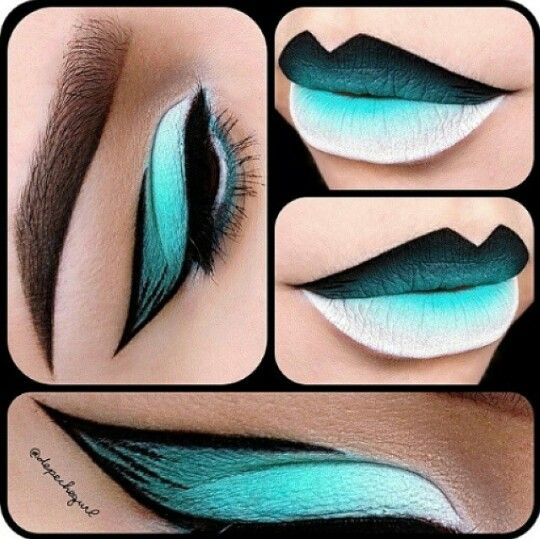 Turquoise black and white ombre makeup and lip