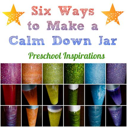 How do you make a calm down jar- Here are six different recipes. 6 Ways to Make a Calm Down Jar by Preschool Inspirations