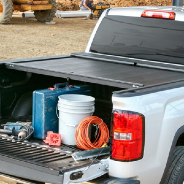Short Box Retractable Tonneau Cover by Roll-N-Lock® in Black - Associated Accessories