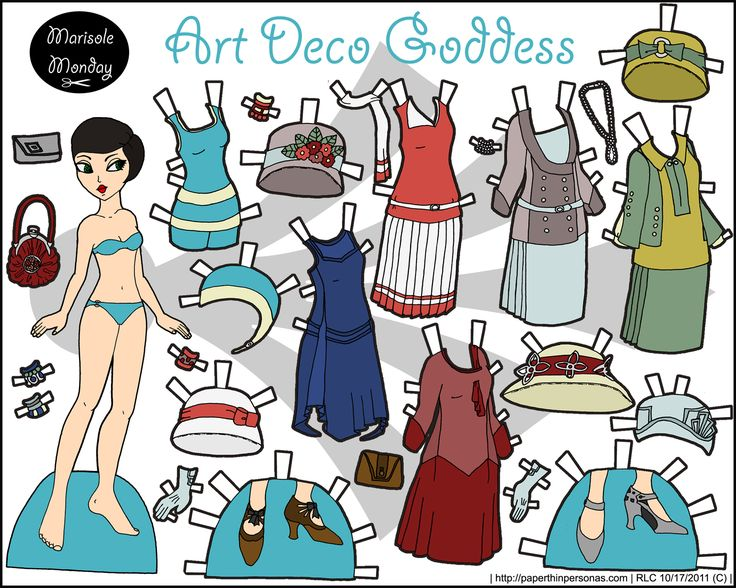 Art deco or 1920s printable paper doll in full color. her dresses and hats and shoes are all period and she has some fantastic shoes. She's from 2011. Also, she's available  in black and white as well for coloring, if you want.