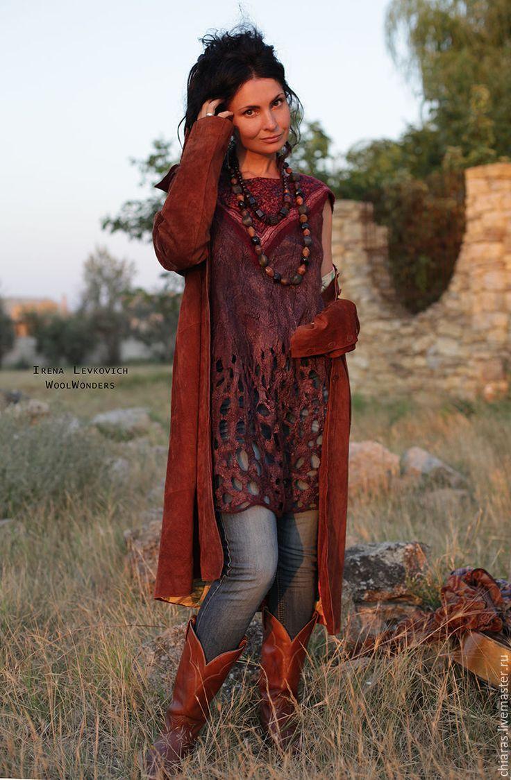 """Купить Туника -платье из шерсти и шелка """"Gypsy Soul' бордо - бордовый, дизайнерская туника"""