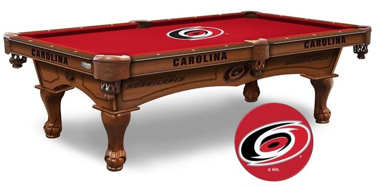NHL Carolina Hurricanes Pool Table is available in an 8-foot length. The Wood cabinet has CNC and laser cut logos. Available in two finishes. Free installation. Visit SportsFansPlus.com for Details.