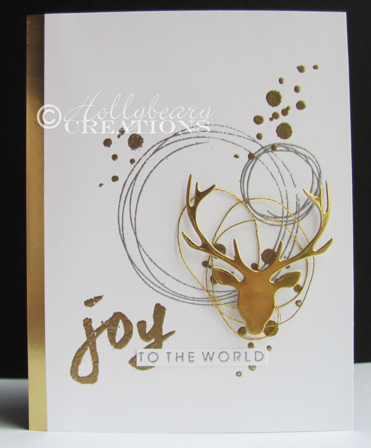 Joy Card by Hollybeary Creations @stampingholly using #EssentialsbyEllen stamps and dies. #PrizeStag #BokehDots #BrushstrokeChristmas