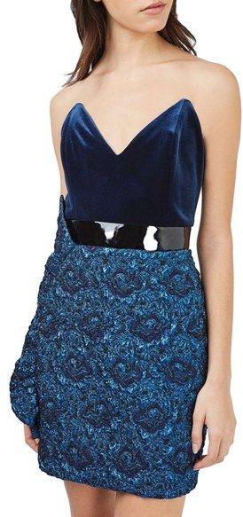 Women's Topshop Velvet & Jacquard Minidress