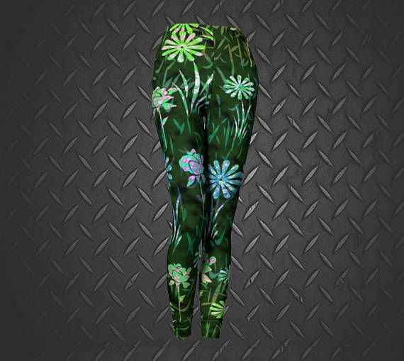 Floral Leggings Green Floral Leggings Floral Print Tights